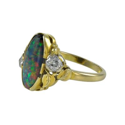 Edward Everett Oakes Oakes Studios Gold Ring with Opal Diamonds