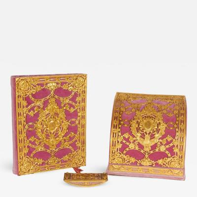 Edward F Caldwell Co American Gilt Bronze Ormolu Mounted Pink Velvet Desk Set E F Caldwell Co