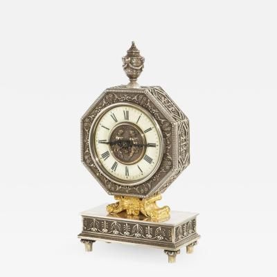Edward F Caldwell Co An American Gilt and Silvered Bronze Table Clock
