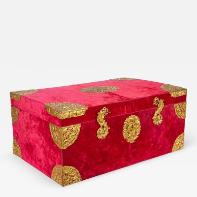 Edward F Caldwell Co Large Gilt Bronze Mounted Red Velvet Box Trunk by E F Caldwell Co