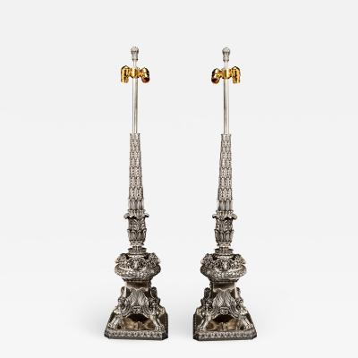 Edward F Caldwell Co Pair of Antique Neoclassical Caldwell Silvered Bronze Lamps