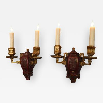 Edward F Caldwell Co Pair of Early 20th Century New York Caldwell Aesthetic Movement Sconces