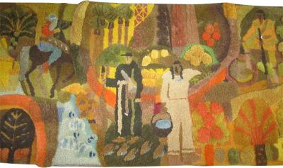 Edward Fields Amazing Huge Tapestry Depicting American History Mid Century Modern