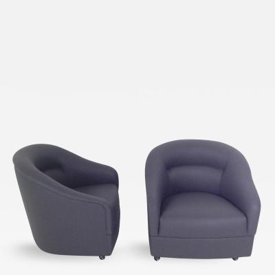 Edward H Bennett Pair of Ward Bennett Mid Century Modern Barrel Back Club Chairs