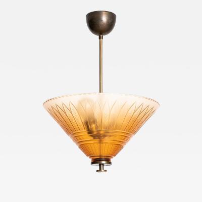 Edward Hald Ceiling Lamp Produced by Orrefors in Sweden