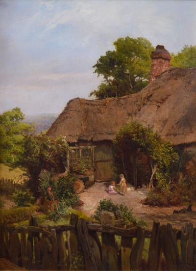 Edward Henry Holder A Thatched Cottage in Surrey 19th Century English Landscape Oil Painting