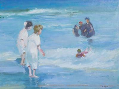 Edward Henry Potthast American Impressionist Oil on Canvas of Ocean Play