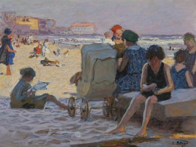 Edward Henry Potthast Baby Carriage on Beach