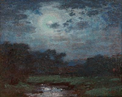 Edward Henry Potthast Moonlit Scene Ring Around the Moon