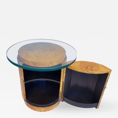 Edward J Wormley Olive Burl Wood End Table with Secret Dry Bar with Lock by Edward Wormley