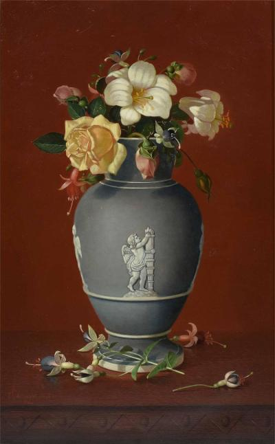 Edward Leavitt Flowers in Clasical Urn