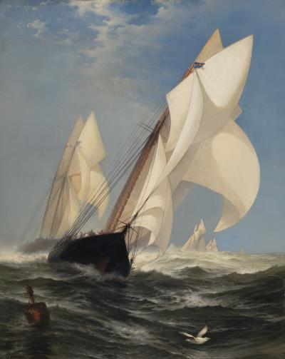 Edward Moran The Winning Yacht Countess of Dufferin and Madeline