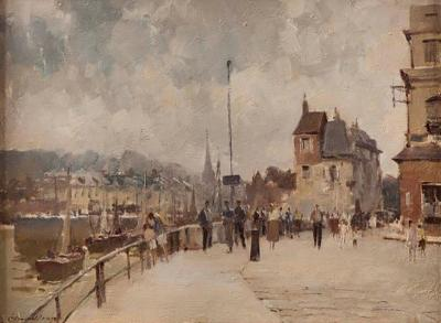 Edward Seago 20th Century Landscape Painting of The Harbour at Hornfleur Edward Seago