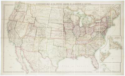 Edward Stanford Folding wall map of the United States in fine colour