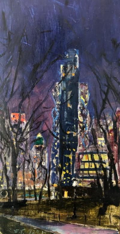 Edward Thomas Columbus Circle from Park Night