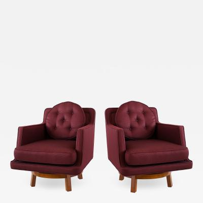 Edward Wormley A Pair of American Modern Walnut and Upholstered Swivel Chairs Ed Wormley