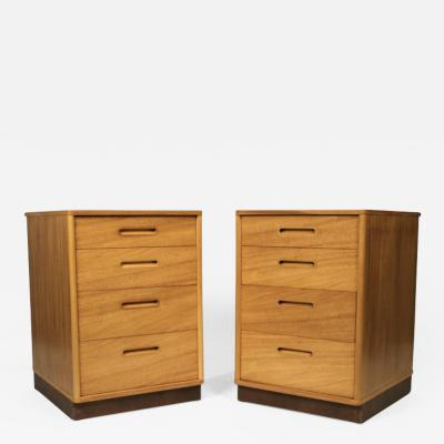 Edward Wormley BLEACH MAHOGANY NIGHTSTANDS WITH LEATHER BASES BY EDWARD WORMLEY FOR DUNBAR