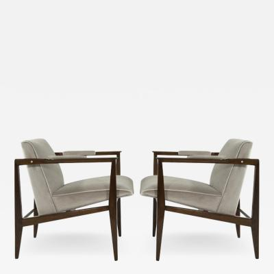 Edward Wormley Brass Accented Edward Wormley for Dunbar Lounge Chairs
