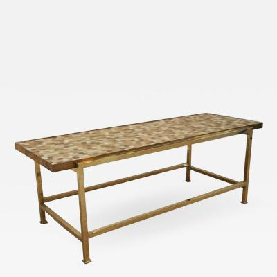 Edward Wormley Cream and Gold Tile Low Table