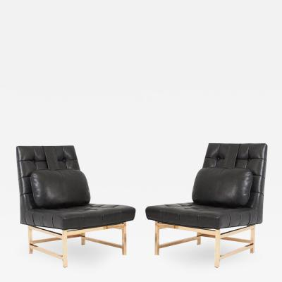 Edward Wormley Dunbar Brass and Leather Slipper Chairs Edward Wormley 1950s