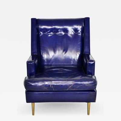 Edward Wormley Dunbar Leather Lounge Chair on Brass Legs by Edward Wormley