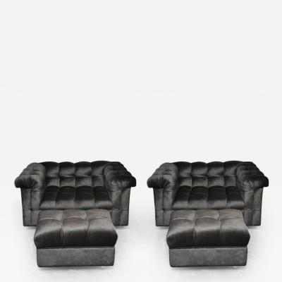 Edward Wormley Dunbar Party Chairs with Ottomans by Edward Wormley
