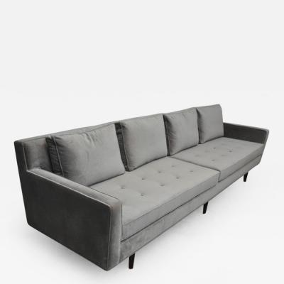 Edward Wormley Dunbar Sofa by Edward Wormley in Grey Velvet