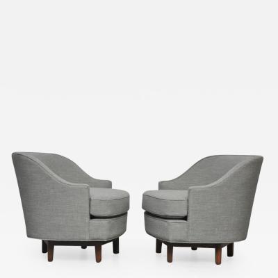 Edward Wormley Dunbar Swivel Chairs by Edward Wormley in Gray Tweed