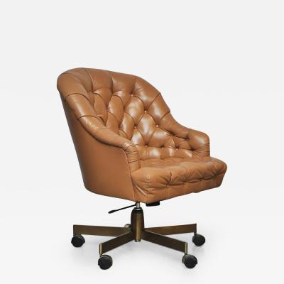 Edward Wormley Dunbar Tufted Leather Desk Chair on Bronze Base by Edward Wormley