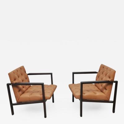Edward Wormley Dunbar Tufted Leather Lounge Chairs by Edward Wormley