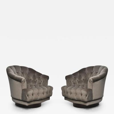 Edward Wormley Dunbar Tufted Swivel Lounge Chairs Edward Wormley