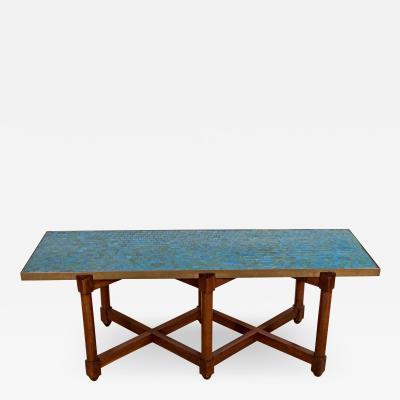 Edward Wormley EDWARD WORMLEY FOR DUNBAR BLUE GLASS MOSAIC TOPPED TABLE