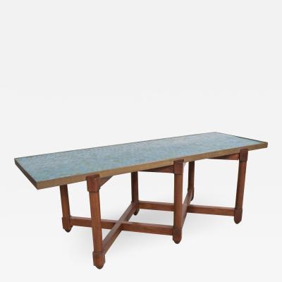 Edward Wormley EDWARD WORMLEY FOR DUNBAR BLUE GLASS MOSAIC TOPPED TABLE