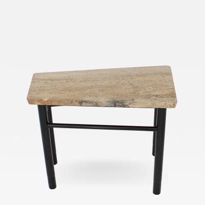 Edward Wormley EDWARD WORMLEY TRAPEZOID SIDE TABLE WITH ASAVAN CARRARA MARBLE TOP FOR DUNBAR