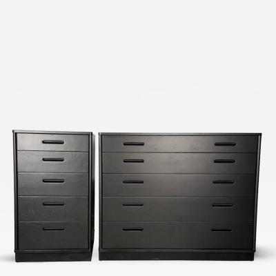 Edward Wormley Ebonized Mahogany Dresser Set with Leather Plinth Base by Edward Wormley 1950s