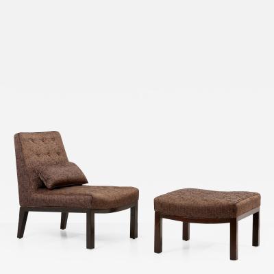Edward Wormley Edward Wormley Lounge Chair with Ottoman by Dunbar USA 1960s
