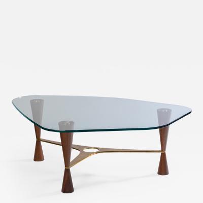 Edward Wormley Edward Wormley Low Table 5309 For Dunbar In Brass Walnut USA 1954 Ca
