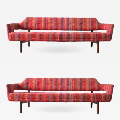 Edward Wormley Edward Wormley Open Back Sofas for Dunbar Original Dorothy Liebes Woven Textile