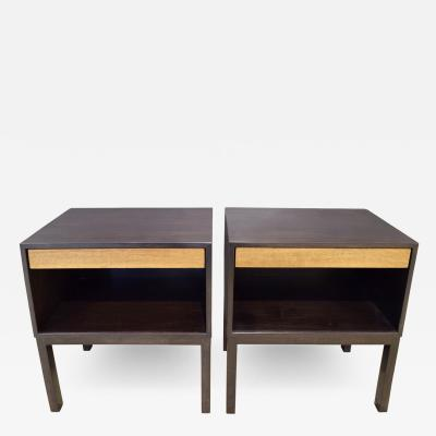 Edward Wormley Edward Wormley Pair of Bedside Tables in Mahogany 1940s Signed