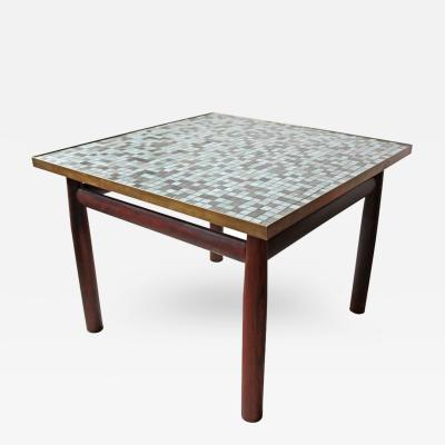 Edward Wormley Edward Wormley Rosewood Occasional Table for Dunbar with Murano Glass Tile Top
