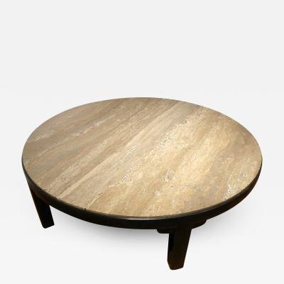 Edward Wormley Edward Wormley Round Cocktail Table with Travertine Top