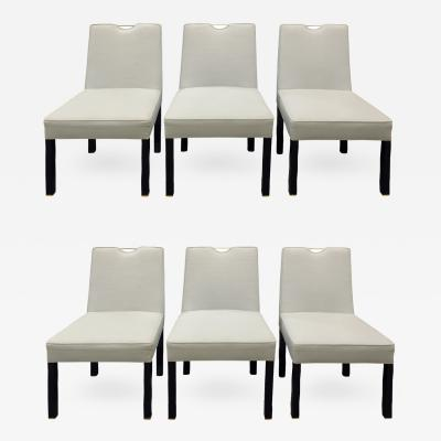 Edward Wormley Edward Wormley Set of 6 Dining Chairs with Brass Handholds 1950s
