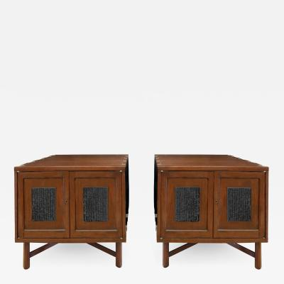 Edward Wormley Edward Wormley Unique End Tables with Japanese Printing Blocks 1957 signed