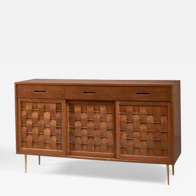 Edward Wormley Edward Wormley Woven Credenza with Brass Legs and Details for Dunbar 1950s