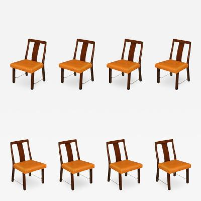 Edward Wormley Eight Edward Wormley Mahogany Leather and Brass Dining Chairs