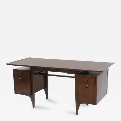 Edward Wormley Fine and Unusual American Modern Dark Walnut Desk Edward Wormley