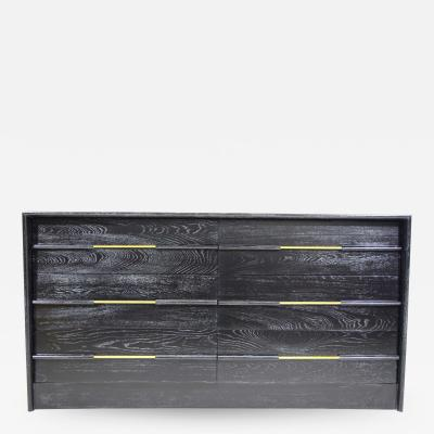 Edward Wormley Mid Century Chest of Drawers in Ebony Cerused Oak with Brass Pulls