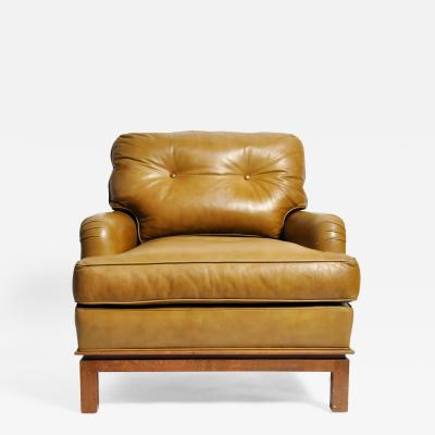 Edward Wormley Mid Century Modern Green Leather Chair by Edward Wormley
