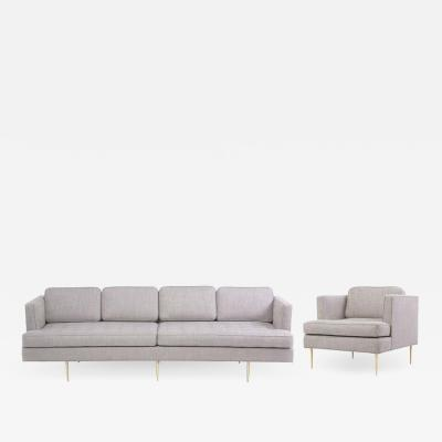 Edward Wormley Newly Upholstered Sofa 4906 with Lounge Chair by Edward Wormley for Dunbar