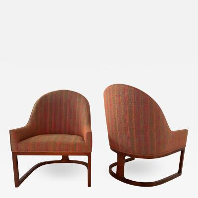 Edward Wormley Pair Mid Century Modern Spoon Back Lounge Chairs